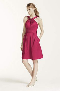 In apple, guava, and canary http://www.davidsbridal.com/Product_short-cotton-dress-with-y-neck-and-skirt-pleating-83690_all-bridesmaid-dresses