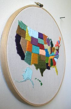 this is similar to this awesome 70s embroidery sampler my mom made of the states, but in hers each state was filled in with what the state is known for, so new york has the statue of liberty, georgia has a peach, etc. i love my mom's 70s sewing projects.
