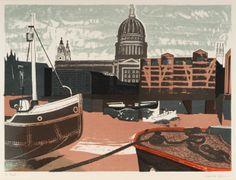 Edward Bawden: St Paul's, 1958, colour autolithograph.