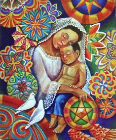 filipino painting .. X ღɱɧღ  .|| Mother  and Child  with colorful parol background ❤️