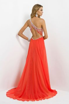 2014 Glistening Long One Shoulder Open Back A Line/Princess Tulle&Chiffon Prom Dresses