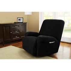 Better Homes and Gardens One-Piece Stretch Fine Corduroy Recliner Slipcover, Black
