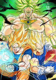 Vegeta and Goku vs Broly