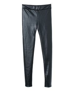 Elastic Mid-rise Fleeced Leather Leggings | BlackFive