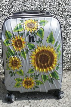 Free hand Sunflowers on a suitcase - commission for a friend