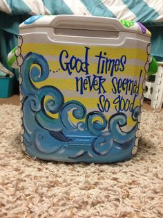Making a cooler is so fun and rewarding. Visit my cooler painting tutorials here and here for great tips and tricks on painting any kind. Fraternity Coolers, Frat Coolers, Crafts To Do, Arts And Crafts, Diy Crafts, Bubba Keg, Cooler Designs, Cooler Painting, Life Quotes Love