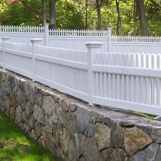 Picket Fence On Top Of Stone Wall Google Search Old Wood Concrete
