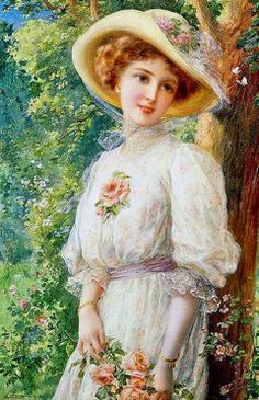 "L49.1 'Jane had borrowed the hat that Aunt Gardiner had worn to Lizzy's wedding for the occasion to match the ivory silk gown she wore..."" this pic - Jane's look Victorian Ladies"