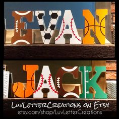 Custom Sports Themed Hand Painted Wooden by LuvLetterCreations