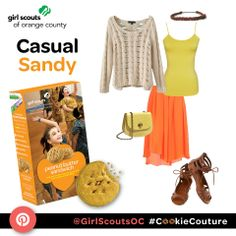 "The ""Casual Sandy"" outfit is inspired by the Peanut Butter Sandwich (Do-Si-Do) Girl Scout Cookie! #CookieCouture"