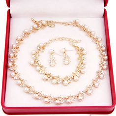 Imitation Pearl Gold Plated Simple Elegant Bridal Jewelry Set Kit Gift //Price: $25.99 & FREE Shipping //     #simpleby