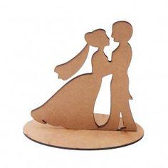 Casal de noivos topo de bolo mdf cru, casamento noivado totem centro mesa Cod 71001