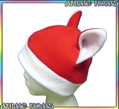 Santa Kitty Hat - White Red Holiday Christmas Cat Beanie Kawaii Cute Winter Clothing Child Teen Adult