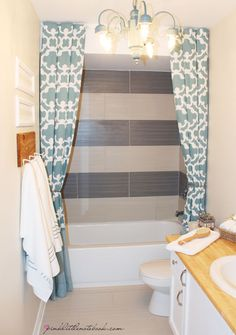 How I Extended My 72″ Shower Curtain To 96″ Without Sewing via Pink Little Notebook