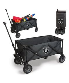 This portable utility wagon features all-terrain wheels and a telescoping handle for ease of use, and it folds into a compact size for simple storage. Plus, it boasts a large main compartment for loading up family gear, food and accessories.
