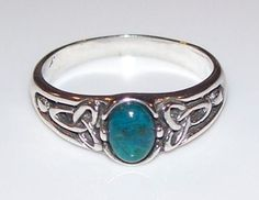 Celtic Triskele Druidic .925 Sterling Silver Ring - Gorgeous Triple Goddess Triscele Trinity Ring. - Handcrafted in the USA in .925 Sterling Silver with genuine Chrysocola gemstone. - Size: 3/8 inches
