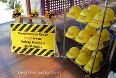 Boy Construction Birthday Party Great Party Sign: With these hard hats, the little toy excavators, and the construction sign, make the entry a complete surprise to the little ones.