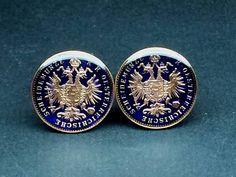 1885 Austria Empire old coin cufflinks ÖSTERREICH Austrian