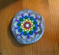 Rainbow Beach Stone ~ by Miranda Pitrone ~ Flower Mandala Dot Art Pointillism Rocks by P4MirandaPitrone on Etsy