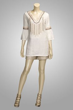 """Beaded"" is such a fabulous summer tunic, in a ivory linen with wood, bone, and amber bead trim."