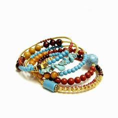 Turquoise mix bracelet set by beadstreetgallery on Etsy