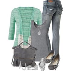 love the minty cardi paired with grey