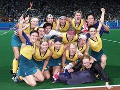 2000 Sydney Olympics .. The Australian women's hockey team celebrate after defeating Argentina in the women's hockey finals to win gold at the Sydney Olympic Games.
