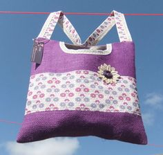 2 in 1 Clothespin / peg bag  purple with lace flower  by Beaky