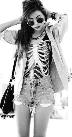 Alternative Fashion | love <3 | skeleton rib shirt | shorts | bag | Punk Fashion, Grunge Fashion, Fashion Beauty, Womens Fashion, Asian Fashion, Glam Rock, Soft Grunge, Hipster Grunge, Estilo Indie