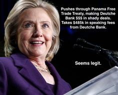 Concerning the Panama Papers scandal, let's start putting two and two together. 1. Hillary Clinton lobbied for the Panama-United States Trade Promotion Agreement, and WAS WARNED it would make money laundering and tax evasion easier for rich...