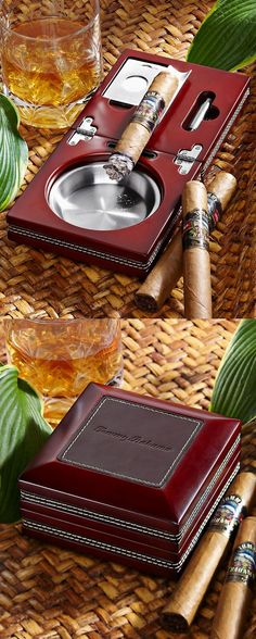 Wood and Leather Folding Ashtray from http://www.tommybahama.com... Would love to have this in my collection!