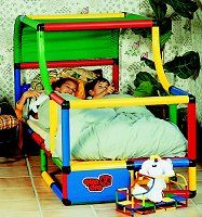 Quadro Universal II Play Set. Modular tubes in four colors to build a bed, kitchen, and even a pirate ship. Special needs children can play safely with the custom design walkers, walking aids, rolling aids and other play structures. Sight impaired kids can safely play too. Available for $656.88 in the USA only.