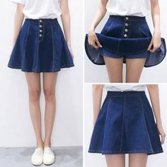 Students tall waist denim skirt sold by Fashion Kawaii [Japan & Korea]. Shop more products from Fashion Kawaii [Japan & Korea] on Storenvy, the home of independent small businesses all over the world. Cute Fashion, Asian Fashion, Skirt Fashion, Fashion Outfits, Womens Fashion, Fashion Trends, Cheap Fashion, Denim Fashion, Modest Fashion