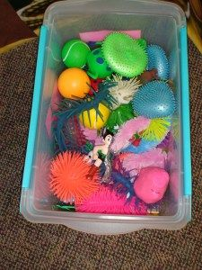 The Sensory Box for kids with special needs during storytime.