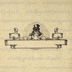 Digital Graphic Frog Scroll Banner Download Image Printable Vintage Clip Art Jpg Png Eps 18x18 HQ 300dpi No.3543 @ vintageretroantique.etsy.com