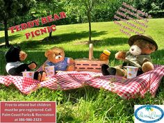 Palm Coast Teddy Bear Picnic - Monday, December 5th, 10-10:30a.m.     Toddlers ages 2-5 and their favorite teddy bear/stuffed toy will enj...