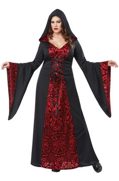 Our Gothic Robe costume is versitile, add some fake blood and some victorian accessories to play vampire, or add some dark makeup and be an elegant witch.
