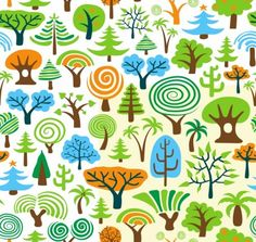 cartoon trees vector
