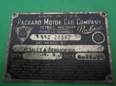 Packard 1936 Vehicle Number Plate by Folkaltered on Etsy, $39.00