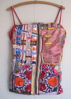 My Bonny - Patchwork Collage Couture - VELVET PEASANT CORSET - Wearable Art - Crazy Quilt Vintage Linens - Ethnic Fabric Scraps