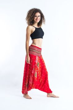 b38441d2c28 Peacock Feather Jumpsuit Harem Pants in Paradise Red Palazzo Pants