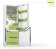 Nord Fridge Concept interior - with rotating shelves, adjustable shelves, unusual shaped drawers and compartments.
