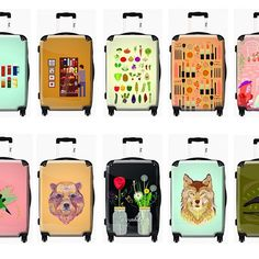 I recently partnered with Ikase. Here are some of the suitcases we made! Suitcases, Dawn, Illustrator, My Favorite Things, Suitcase, Briefcase, Illustrators