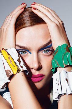 We're obsessed with art-inspired accessories! @harpersbazaarus #harpersbazaar #photoshoot #model Josephine Skriver photo by Richard Burbridge for Harper's Bazaar