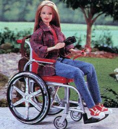 Becky doll is the hip and trendy photographer friend to Barbie. She comes with a camera, red stud earrings, sunglasses and a backpack that hangs from the back of her wheelchair.