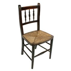Child's Rush Seat Chair A late 19th to early 20th century child's rush seated chair. The chair has a stained beech wood frame with turned spirals in the back and six cross stretchers for strength. The chair is in good original condition. (Circa 1900) Height 76cm (29.9 inches) Width 36cm (14.1 inches) Depth 34cm (13.2 inches) Antique Chairs, Spirals, Armchair, Dining Chairs, Strength, The Originals, Antiques, Children, Wood