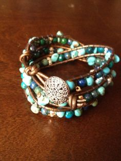 Wrap bracelet with semiprecious stones by Qaygee on Etsy, $70.00