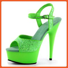 Bright and Bold Lime Green Heels with Sparkling Glitter and 6 Inch Stilettos Size: 8 - Sandals for women (*Amazon Partner-Link)