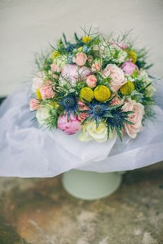1950s Spring Village Fete Wedding Yellow Pink Bridal Bouquet Spring http://www.lifelinephotography.co.uk/