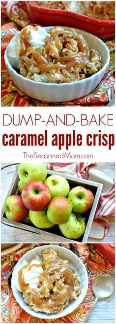 This Dump and Bake Caramel Apple Crisp just might be the easiest and most delicious dessert that you will have all fall! Apple Desserts, Apple Recipes, Fun Desserts, Fall Recipes, Baking Recipes, Delicious Desserts, Dessert Recipes, Yummy Food, Caramel Apple Crisp